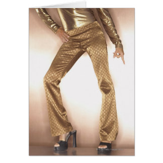 Hip woman in gold disco dancing card
