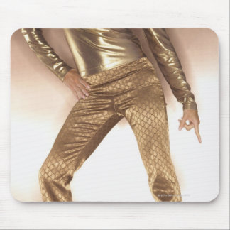 Hip woman in gold disco dancing mouse mat