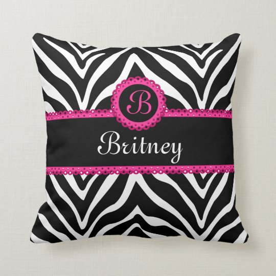 Hip Zebra Print and Lace Monogram Cushion
