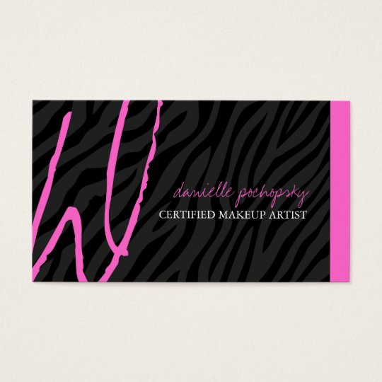 Hip Zebra Print Monogram Business Cards