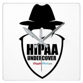 HIPAA Undercover Square Wall Clock