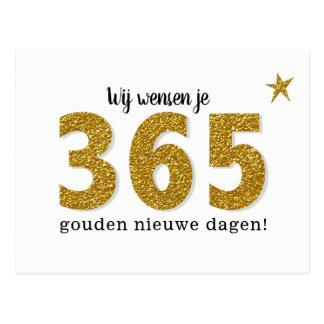 Hippe Nieuwjaarskaart - 365 golden new days Postcard