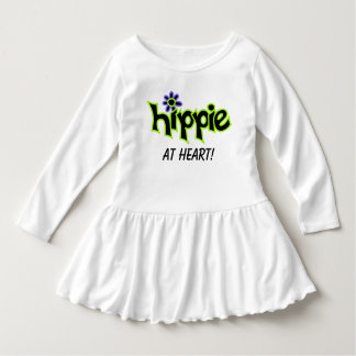 Hippie at Heart Colorful Graphic Black Word Saying Infant Dress