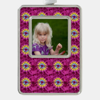 Hippie batik circle silver plated framed ornament