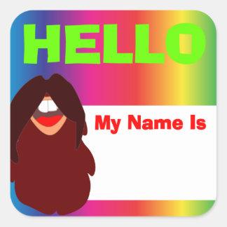 Hippie Beard Rainbow Name Tag