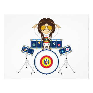 Hippie Boy with Drums Personalized Flyer