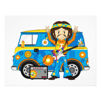 Hippie Boy with Guitar and Camper Van 21.5 Cm X 28 Cm Flyer