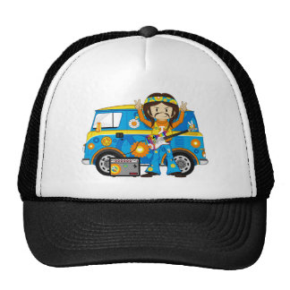 Hippie Boy with Guitar and Camper Van Cap