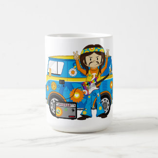 Hippie Boy with Guitar and Camper Van Coffee Mugs