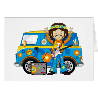 Hippie Boy with Guitar and Camper Van Greeting Card