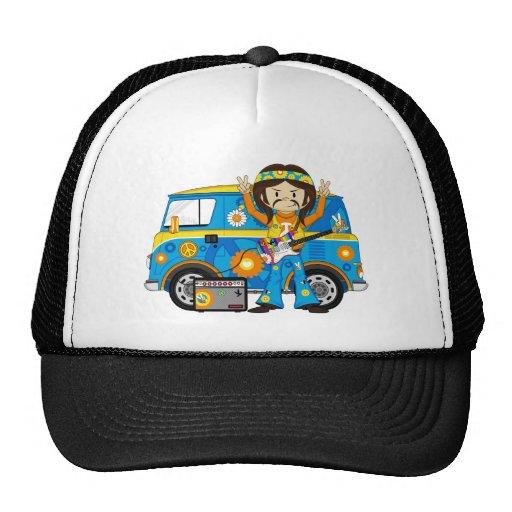 Hippie Boy with Guitar and Camper Van Mesh Hat