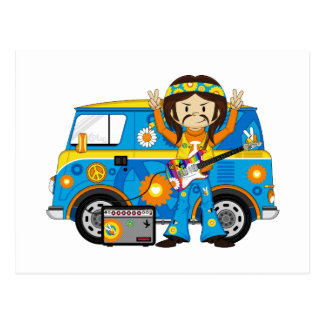 Hippie Boy with Guitar and Camper Van Postcard