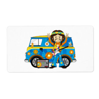 Hippie Boy with Guitar and Camper Van Shipping Label