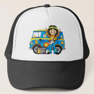 Hippie Boy with Guitar and Camper Van Trucker Hat