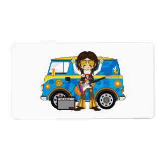 Hippie Boy with Guitar & Camper Van