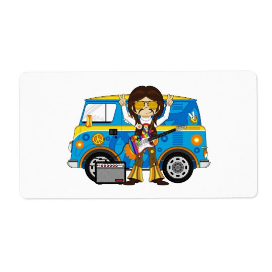 Hippie Boy with Guitar & Camper Van