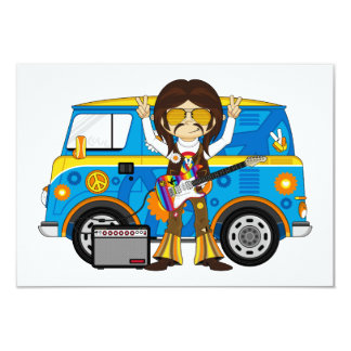 Hippie Boy with Guitar & Camper Van 9 Cm X 13 Cm Invitation Card