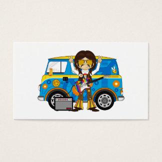Hippie Boy with Guitar & Camper Van Business Card