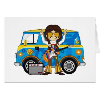 Hippie Boy with Guitar & Camper Van Card