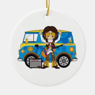 Hippie Boy with Guitar & Camper Van Christmas Ornament