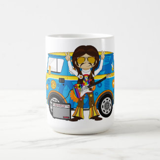 Hippie Boy with Guitar & Camper Van Coffee Mug