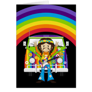 Hippie Boy with Guitar & Camper Van Greeting Card