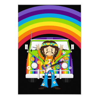 Hippie Boy with Guitar Camper Van Personalized Invites