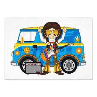Hippie Boy with Guitar & Camper Van Custom Invitations