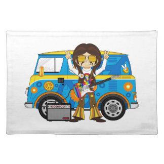 Hippie Boy with Guitar & Camper Van Placemat