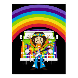 Hippie Boy with Guitar & Camper Van Post Card