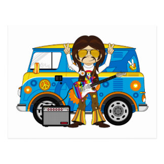 Hippie Boy with Guitar & Camper Van Postcard