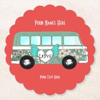 Hippie Camper Van Love Heart Fun Romantic Paper Coaster