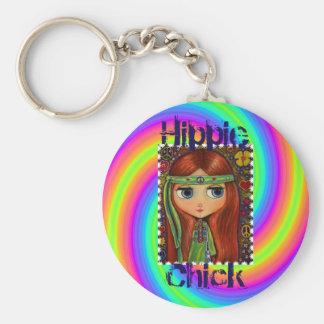 Hippie Chick 1960s Tie Dye Big Eye Doll Headband Key Ring