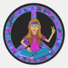 Hippie Chick Classic Round Sticker