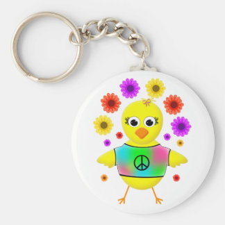 Hippie Chick Cute and Funny Cartoon Bird Basic Round Button Key Ring