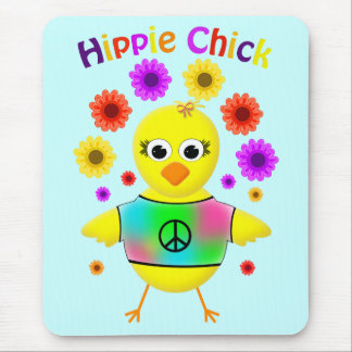 Hippie Chick Cute & Fun Cartoon Chicken Mouse Pad
