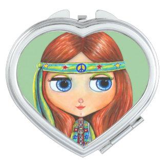 Hippie Chick in Green with Headband Big Eyes Vanity Mirror