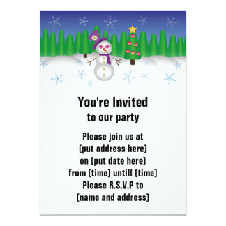"Hippie Christmas Snowman 5"" X 7"" Invitation Card"