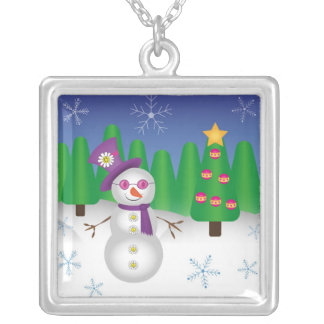 Hippie Christmas Snowman Silver Plated Necklace