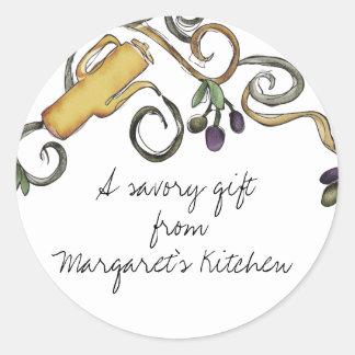 hippie doodle olive oil branch from my kitchen ... round sticker