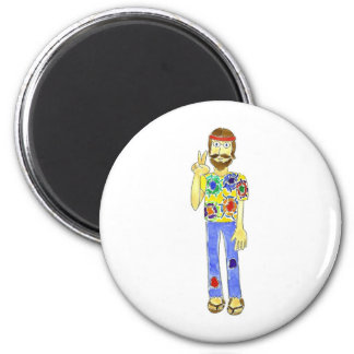 Hippie Dude 6 Cm Round Magnet