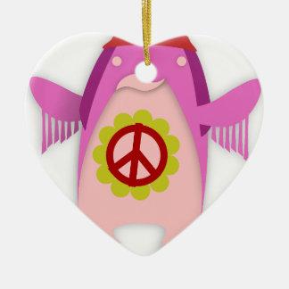 hippie fashion art design for inspire happiness ceramic heart decoration