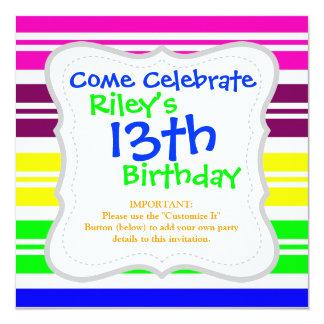 Hippie Flower Power Peace Sign on Rainbow Stripes 13 Cm X 13 Cm Square Invitation Card