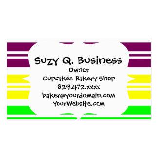 Hippie Flower Power Peace Sign on Rainbow Stripes Business Card Templates