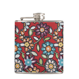 hippie flowers flask