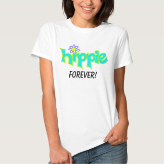 Hippie Forever Graphic Turquoise Aqua Word Art Tshirt