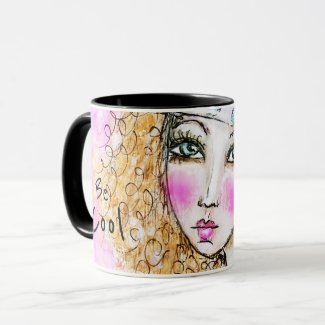 Hippie Girl Colourful Watercolor Illustration Mug