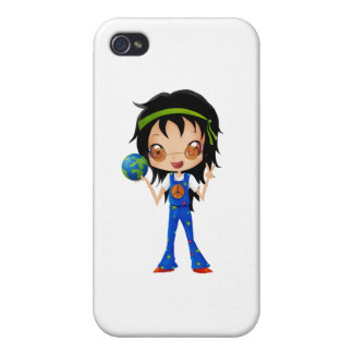Hippie Girl Kids Peace Earth iPhone 4/4S Covers