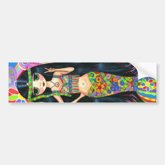 Hippie Girl Mermaid Bumper Sticker