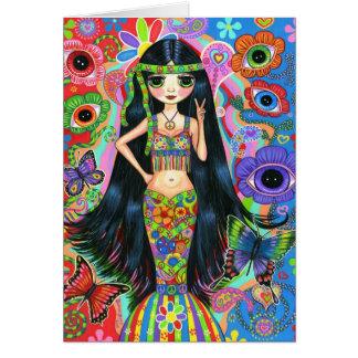 Hippie Girl Mermaid Card
